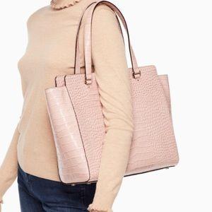 Authentic Kate Spade crocodile dust pink large bag